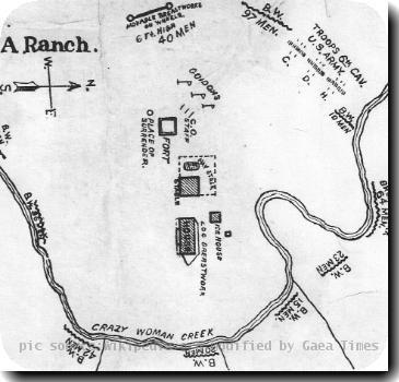 Historical Drawing of the TA Ranch at the time of the Johnson County War