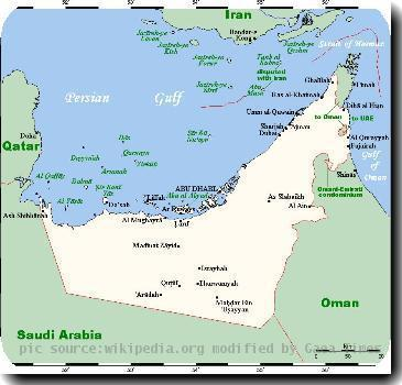 Summary  A map showing the UAEs cities and main towns, along with nearby areas. This maps source is here, with the uploaders modifications, and the GMT homepage says that the tool