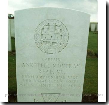 Grave photo of Victoria Cross recipient Anketell Moutray Read, migrated from the Victoria Cross Reference site with permission..