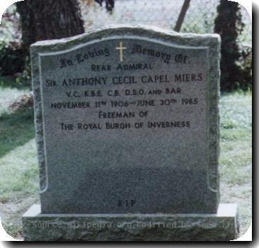 Grave photo of Victoria Cross recipient Anthony Cecil Capel Miers, migrated from the Victoria Cross Reference site with permission..