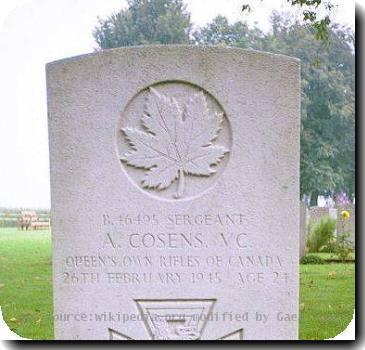 Grave photo of Victoria Cross recipient Aubrey Cosens, migrated from the Victoria Cross Reference site with permission..