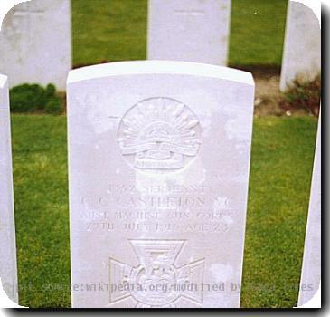 Grave photo of Victoria Cross recipient Claude Charles Castleton, migrated from the Victoria Cross Reference site with permission..