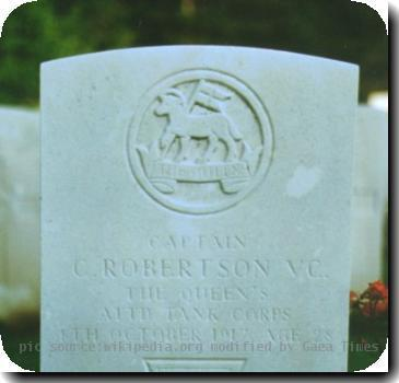 Grave photo of Victoria Cross recipient Clement Robertson, migrated from the Victoria Cross Reference site with permission..</i> <B>Note:</B> Further information appears for this recipeint and is highly likely to need some