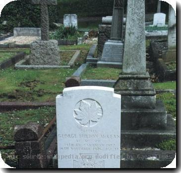 Grave photo of Victoria Cross recipient George Burdon McKean, migrated from the Victoria Cross Reference site with permission..