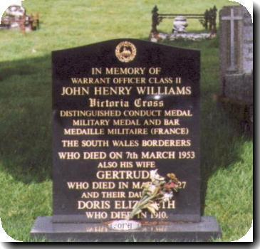 Grave photo of Victoria Cross recipient John Jack Henry Williams, migrated from the Victoria Cross Reference site with permission..