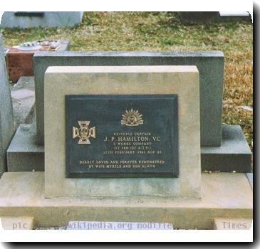 Grave photo of Victoria Cross recipient John Patrick Hamilton, migrated from the Victoria Cross Reference site with permission..