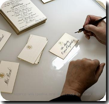 Place cards for a state dinner being calligraphed at the White House Graphics and Calligraphy Office. Source