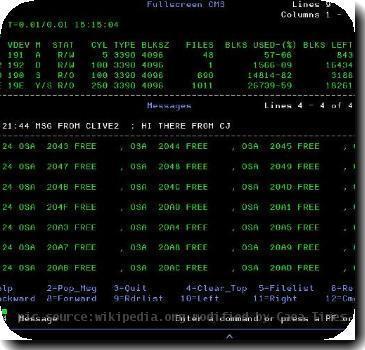 z/VM operating system fullscreen mode. Source: z/VM textbook
