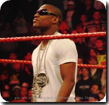 Floyd Mayweather, Jr in a WWE ring. Bradley Center, Milwaukee, WI.