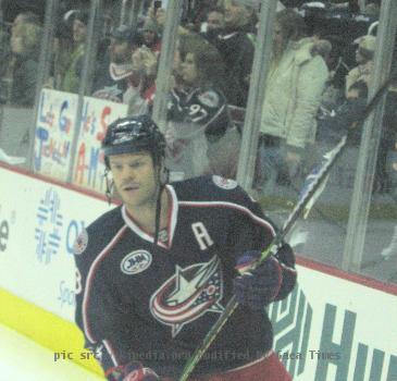 Fredrik Modin of the Columbus Blue Jackets prior to their January 10, 2009 game against the Minnesota Wild at Nationwide Arena in Columbus.