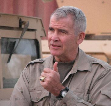 Oliver North during an interview at FOB Kalsu in Iraq.