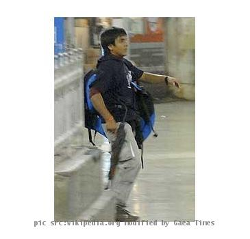 Photograph of Ajmal Kasab, one of the ten terrorists of 28 November 2008 at the Victoria Terminus station
