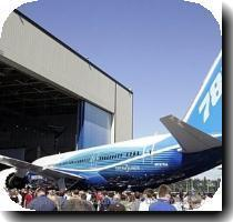 <p>The new Boeing 787 Dreamliner is unveiled during the world premiere of this aircraft in Everett  Washington  seen here in 2007  Boeing Co  said Thursday the first test flight for its 787 Dreamliner may come next week in a critical milestone for the delay plagued jetliner seen as the future for the aerospace giant < p>