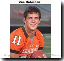 If you thought Colt McCoy was close to Sam Bradford and then Chase Daniel in stats that count  Zac Robinson from Oklahoma State is even closer  Here are the current rankings from ESPN  1  David Johnson  Tulsa  212 82  2  Bradford  OU  192 22  3  Robinson  OSU  191 93  4  Colt 190 76  and 5  Daniel  Mo   175 80  As anyone who has